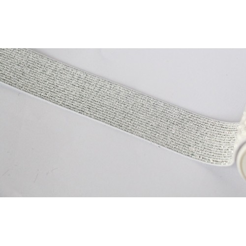 Elastique côtelé argenté 30 mm