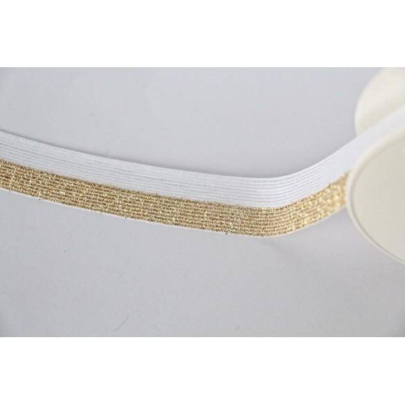 Biais Elastique blanc/doré