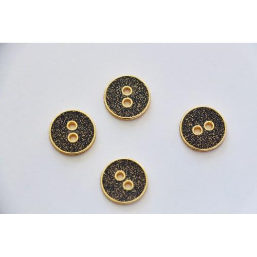 Bouton métal noir à paillettes dorées