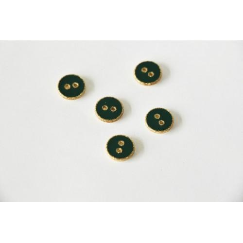 Bouton rond émaillé vert et doré
