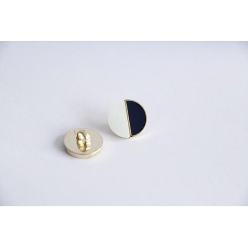 Bouton métal marine/blanc nacre