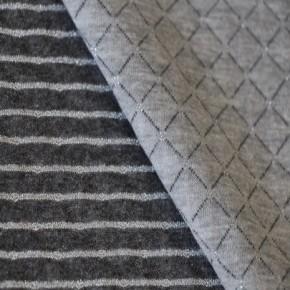 Jersey matelassé double face gris/argent