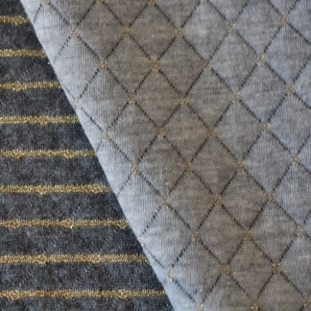 Jersey matelassé double face gris/doré