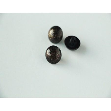 Bouton boule noir à paillettes dorées
