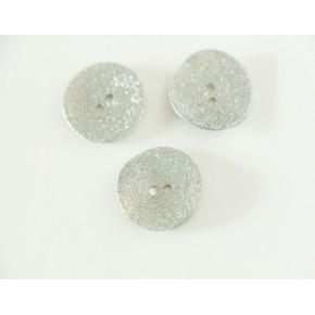 Bouton nacre paillettes argentées 22mm