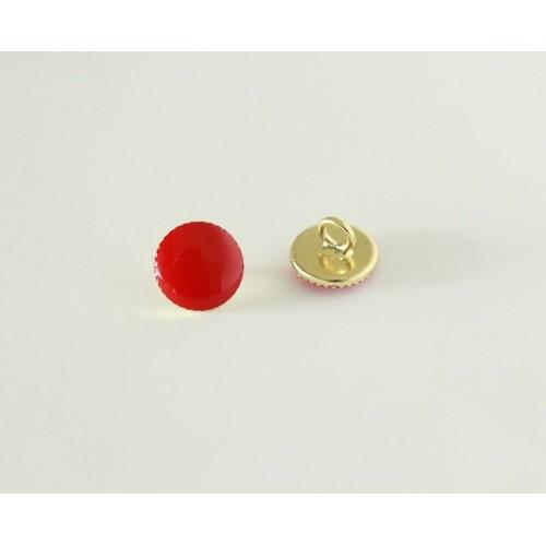 Bouton rond métal rouge