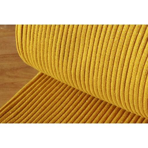 Bord-côte lourd moutarde lurex doré