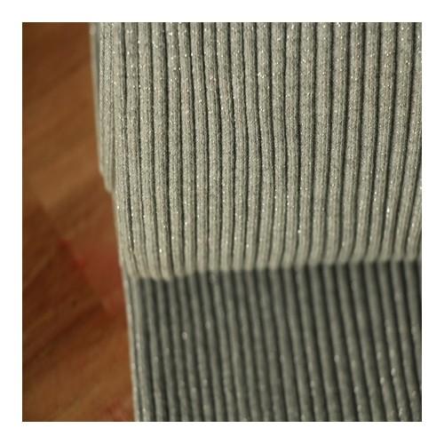 Bord-côte lourd gris lurex argent