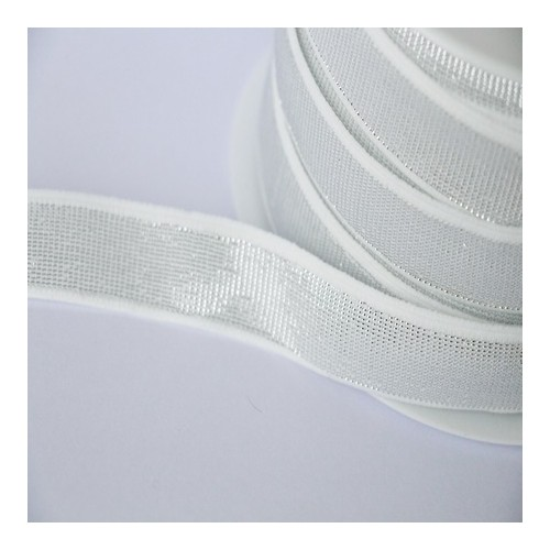 Elastique blanc lurex argent lisse 18 mm