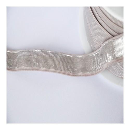 Elastique nude lurex argent lisse 18 mm
