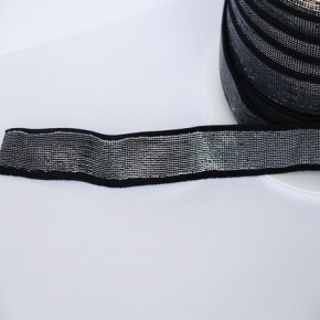 Elastique noir lurex argent 18 mm