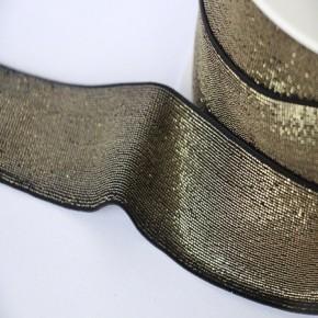 Elastique noir lurex doré lisse 40 mm
