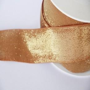 Elastique camel lurex doré lisse 40 mm