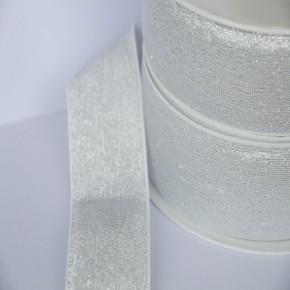 Elastique blanc lurex argenté lisse 40 mm