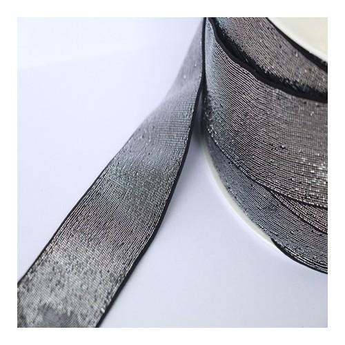 Elastique noir lurex argenté lisse 40 mm