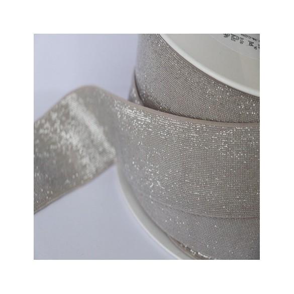 Elastique nude lurex argenté lisse 40 mm