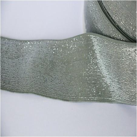 Elastique céladon lurex argenté lisse 40 mm