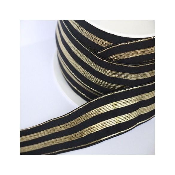 Elastique noir rayures lurex or - 30 mm