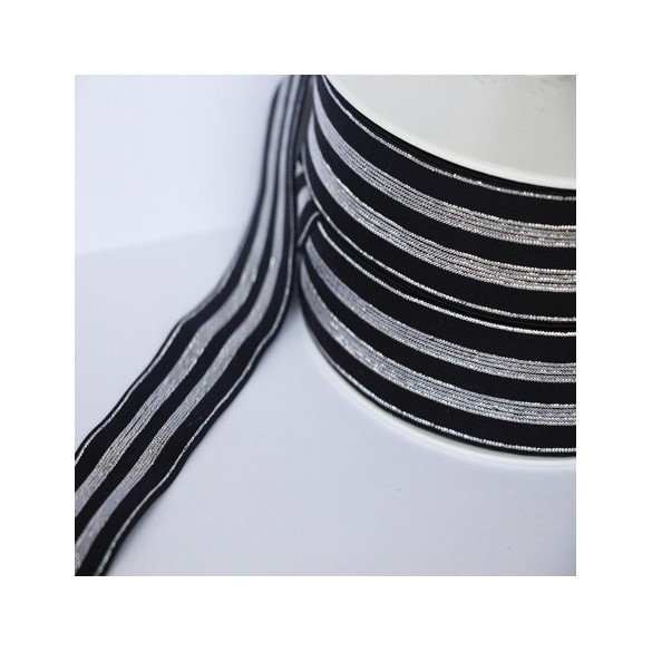 Elastique noir rayures lurex argent - 30 mm