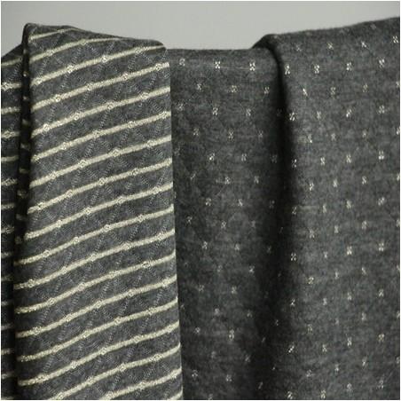 Jersey matelassé double face gris anthracite/doré