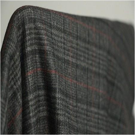 Flanelle carreaux gris et rouge