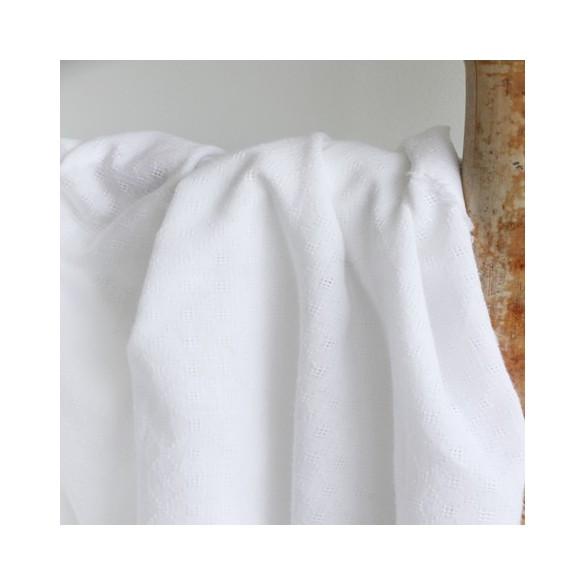 coton brodé carrés blanc