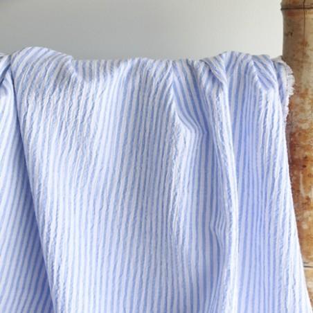 tissu seersucker bleu