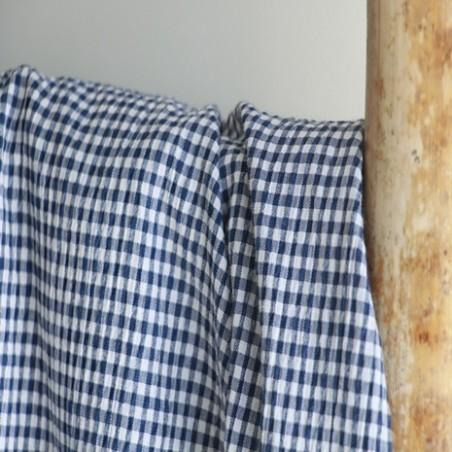 tissu seersucker vichy marine et blanc