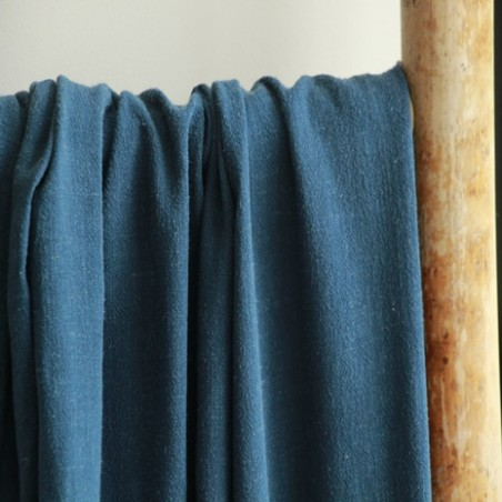 tissu lin et viscose bleu canard
