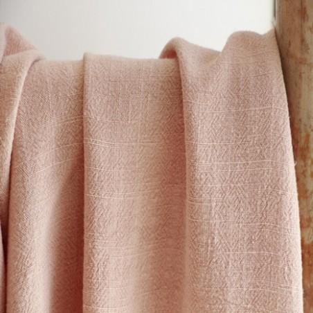 tissu lin et viscose rose tendre