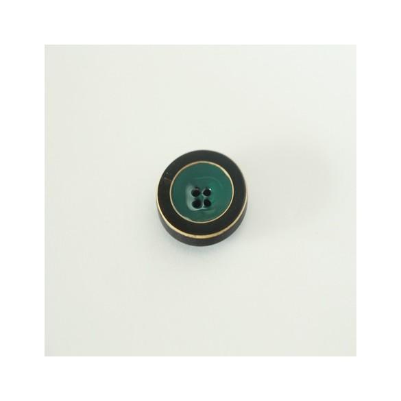 bouton rond vert sapin émaillé