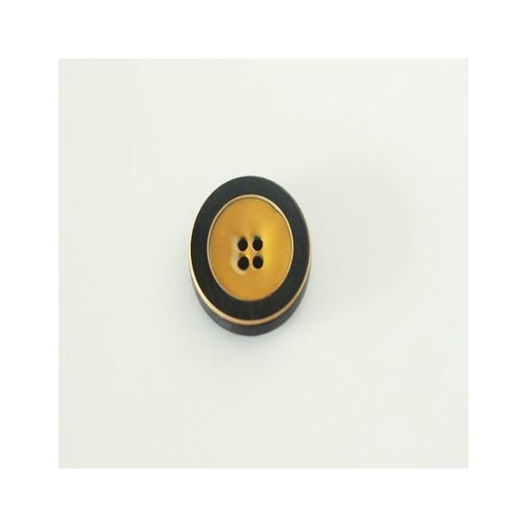 bouton Brigitte rond émaillé moutarde 25 MM