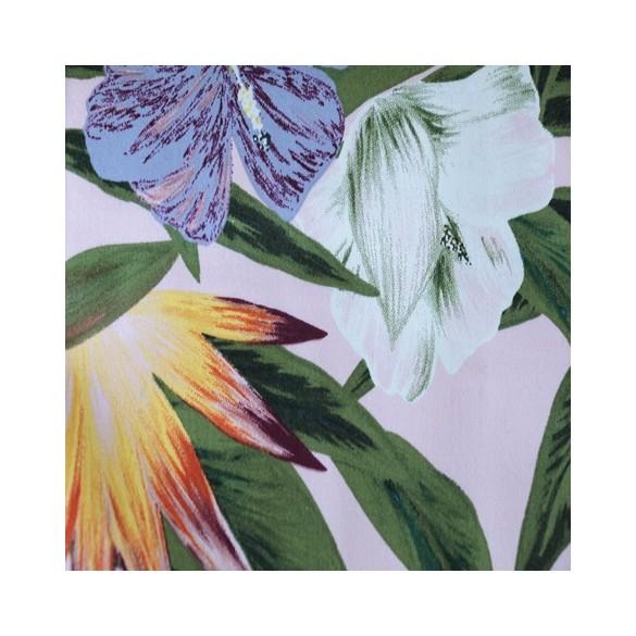 satin de coton stretch imprimé fleurs
