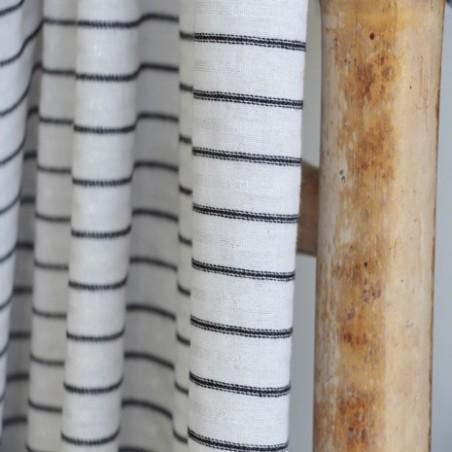 coton blanc à rayures noires et argentées
