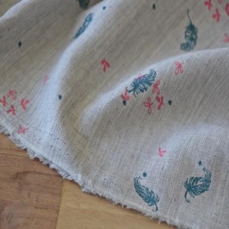 coton imprimé plumes et fleurs
