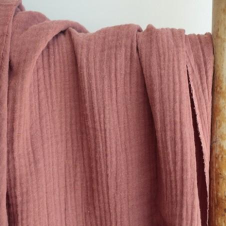 tissu double gaze terracotta