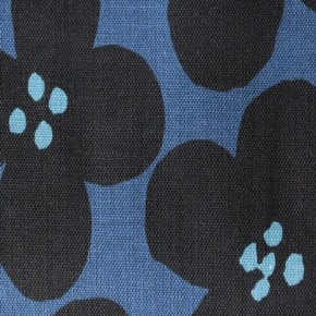 COTON épais big flowers bleu kokka