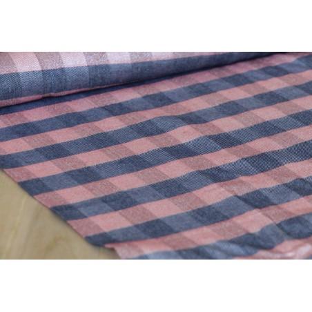 tissu viscose à carreaux marine et rouge