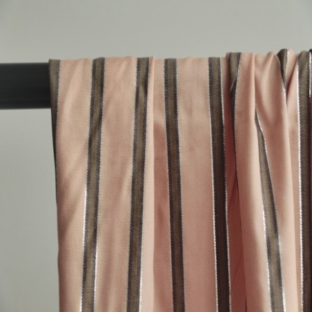 tissu viscose rayures rose, kaki et argentées