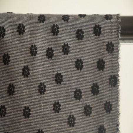 jersey milano gris à fleurs noires