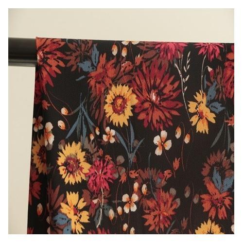 tissu crepe polyester fleurs