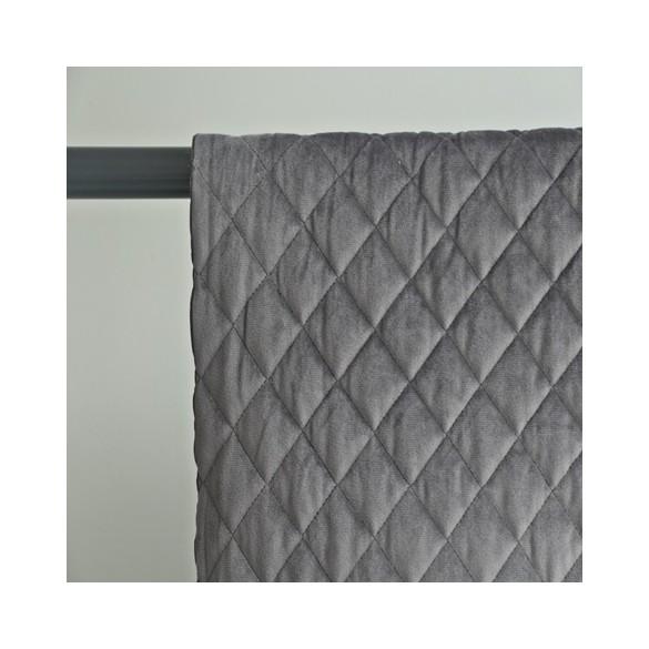 tissu velours matelassé gris
