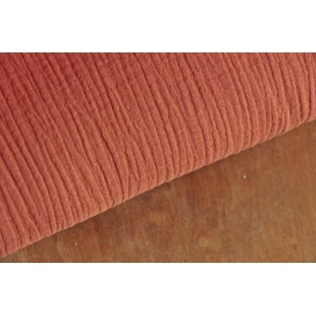tissu double gaze coton brique