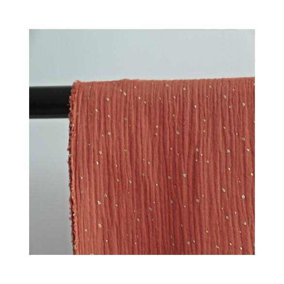 tissu double gaze brique pois dorés