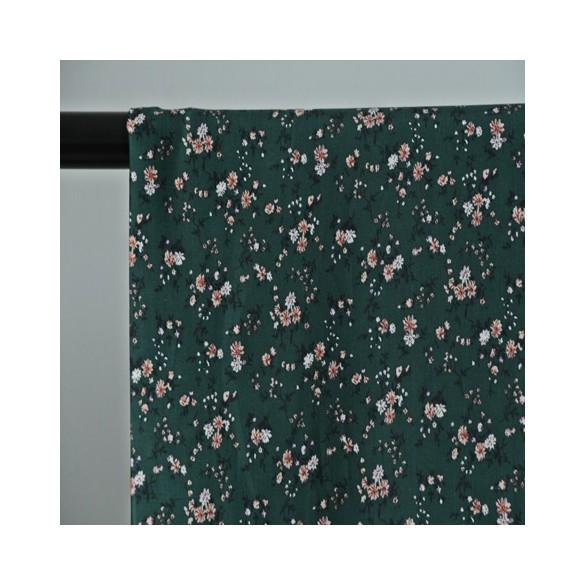 tissu viscose petites fleurs vertes