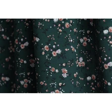 tissu viscose petites fleurs verte