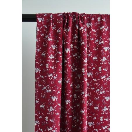 tissu viscose petites fleurs bordeaux