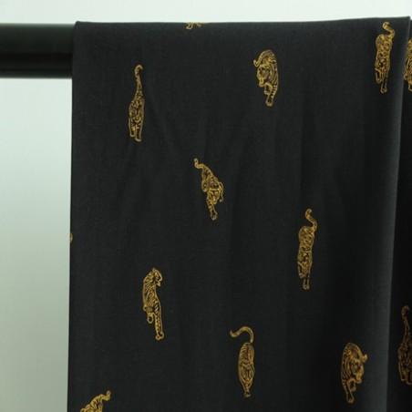 viscose imprimée tigre noir et jaune