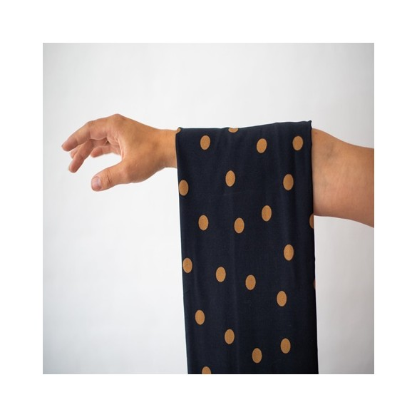 viscose stretch dots night ocre - mind the maker