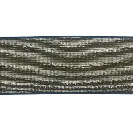 Elastique lisse bleu jean lurex doré  40 mm